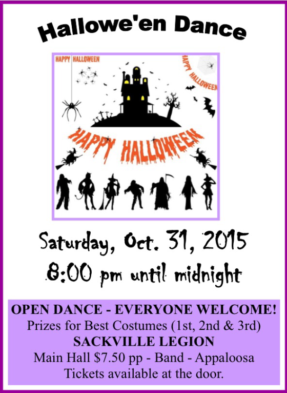 Halloween Dance At Sackville Legion. Mark The Date!